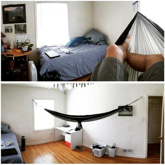 Hangmat om in te slapen in plaats van in een bed